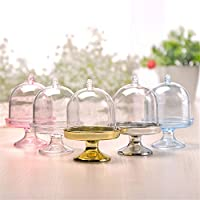 yimosecoxiang Cake Stand 12Pcs Mini Cake Display Stand Cupcake Holder + Dome Cover Wedding Party Props