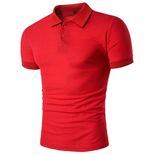 ZhiYuanAN Polo Cuciture A Maniche Corte Da Uomo Risvolto Sport Tempo Libero Polo Camicia Slim Fit Polo T-Shirt Rosso
