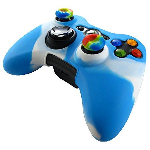 Pandaren® Pelle cover skin per il Xbox 360 controller(bianco + blu) x 1 + pollice presa x 2