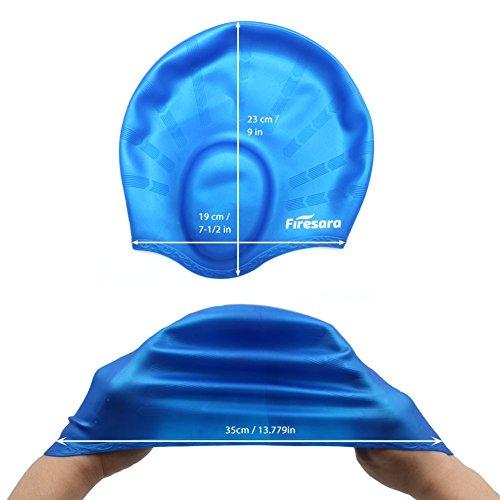 firesara cuffia da nuoto in silicone con tasche orecchio per capelli lunghi 89ee0c35218d