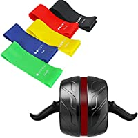 Arkmiido AB Roller for Fitness, Self-Retractable AB Carver Pro, Workout AB Wheel with Knee Mat & 5 Pieces Resistance Bands Set Fitness Bands for Yoga.