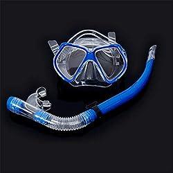 JSMH Diving Supplies Masque de plongée avec Tuba 3 pièces - Masque de plongée pour Adulte Bleu