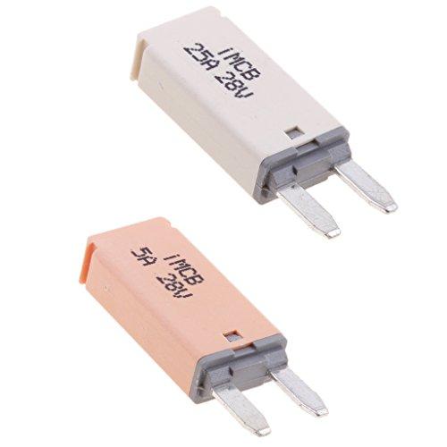 Mini Circuit Breaker (Sharplace Auto ATM Mini Sicherungen Flachsicherung Manuell Reset Circuit Breaker Fuse Schutzschalter - 2 Stück 5A+25A)