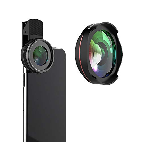 ZYLFN Phone Camera Lens, 0.6X Super Wide Angle Lens + 10X Macro Lens für iPhone Lens Kit, 2 in 1 Clip-On Cell Phone Camera Lens für iPhone Samsung, Most Smartphones Mobile Travel Kit