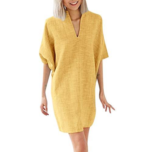 URIBAKY Leinen T-Shirtkleid Damen-Sommerkleid-beiläufige Kleider-Damen Kleider elegant Knielang,halbe-Hülse-V-Ausschnitt