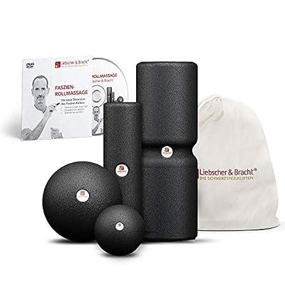 Liebscher und Bracht Set: Faszienrolle und Massageball (je 2 Stück) zum Faszien-Training, geeignet für Yoga, Pilates und Fitness, mit Übungen auf DVD