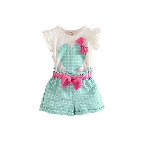 internet-kids-girls-love-heart-bow-vest-t-shirt-bow-plaid-shorts-clothing-set-130-5-6y-green