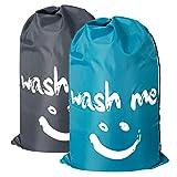 Chrislley 2er-Pack Großer Wäschesack Faltbare Schmutzbeutel Reise Wäschetasche Wäschebeutel für Haushaltswäsche Kinder Wäschetonne Home Dreckige Kleidung Beutel Aufbewahrung 120L(Blau und Grau)