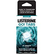 LISTERINE Go! Tabs Sugar Free Tablets with Clean Mint Flavour for Fresh Breath On-the-go – Pack of 16 Tablets