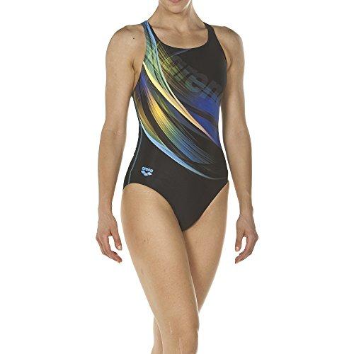 arena Damen Sport Badeanzug Prisma (Schnelltrocknend, UV-Schutz UPF 50+, Chlorresistent), Black-Turquoise (508), 36