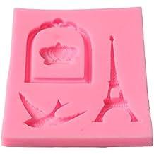 Jeffyo - Molde de silicona para decoración de pasteles, diseño de corona de pájaro con