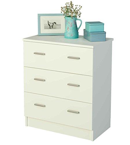 Cómoda para dormitorio con 3 cajones (varios colores) de 60 cm de ancho, Samblo Nami,melamina color blanco