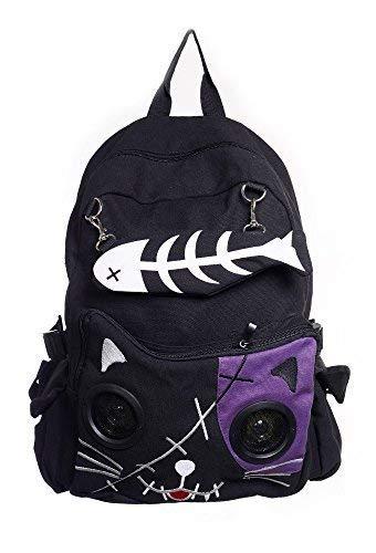 Lautsprecher Rucksack Tasche von Banned Apparel Kitty Ohren AUX universell 3.5mm jack - violett, Standard -