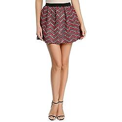 oodji Ultra Mujer Falda Acampanada de Tejido Texturizado, Rojo, ES 36 / XS