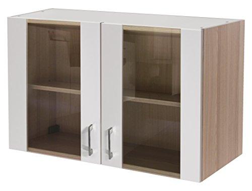 Flex-Well 00007139 Glas-Oberschrank Abaco Perlmutt glänzend, Akazie 100 x 54,8 x 32 cm