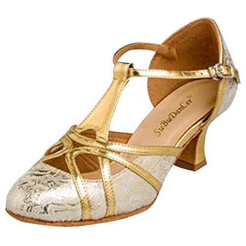 Oasap Femme Sandales Talons Haut Ajouré Chaussure de Danse Latine Or