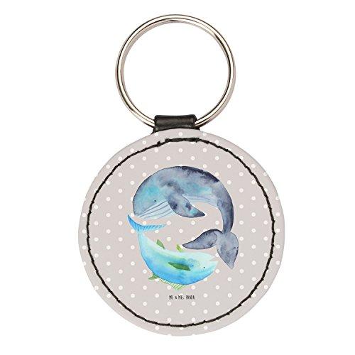 Mr. & Mrs. Panda Schlüsselband, Taschenanhänger, Rund Schlüsselanhänger Walfisch & Thunfisch - Farbe Grau Pastell
