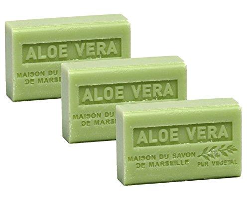 Maison du Savon de Marseille - 3er-Set Provence-Seifen mit Sheabutter - Aloe Vera - 3 x 125 g -