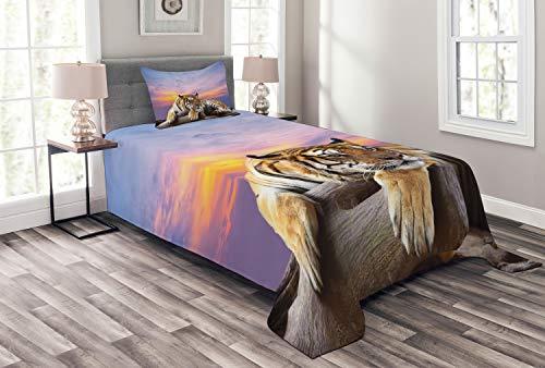 ABAKUHAUS Safari Tagesdecke Set, Tiger Bunte Sonnenuntergang, Set mit Kissenbezug Weicher Stoff, für Einselbetten 170 x 220 cm, Lavendel Senf Beige Lila