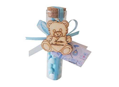 Chance 24 provette porta confetti 11,5 + nembo + 24 decorazioni legno orsetto + nastrino + bigl (celeste)