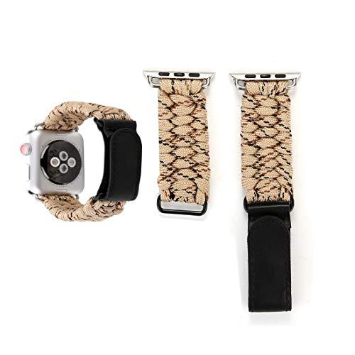 QINGPISHU Magic Paste Echtes Leder Regenschirm Seil Nylon Armbanduhr mit Edelstahlschnalle for Apple Watch Serie 3 & 2 & 1 42mm Sehen (Farbe : Gold)