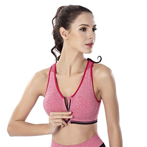 Yuanu Damen Frontreißverschluss Bügellose Stoßfest Sport Unterwäsche BHS Weich Komfortabel Atmungsaktiv Yoga Running Westen Rose Rot 2XL