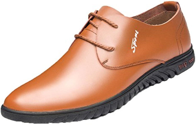Koyi Herren Lederschuhe Frühling und Sommer Neue Breathable Casual Schuhe Lace Beanie Schuhe