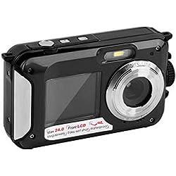 ONLYGAZI Caméra d'action, Caméra sous-Marine 2,7 K Full HD 48,0 MP Appareil Photo numérique étanche Selfie Double Ecrans Lumière Flash Appareil Photo numérique,A