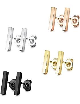 Sailimue 4 Paare 10mm Edelstahl Bar Ohrringe Line Stick Ohrstecker für Herren Damen Stickohrringe