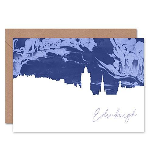 FINE ART PRINTS Scotland Edinburgh Cityscape Marble Blue Greetings Card Schottland Stadtbild Blau