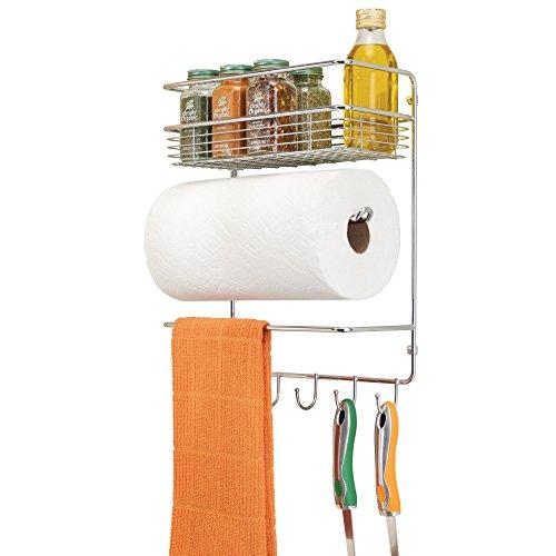mDesign Portarrollos de cocina – Soporte de pared metálico para rollos de cocina con estantes para especias – Práctico dispensador de papel que ahorra espacio – plateado