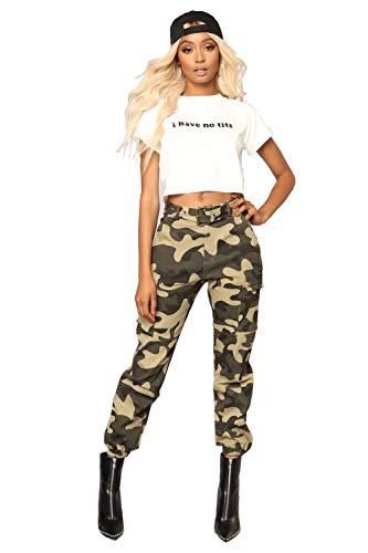 piannao Damen Sport Camouflage Hose Gürtel Laufhose Bunt Sporthose Seiten Taschen Reißverschluss Multi-Pocket Jogger Pants Trainingshose -