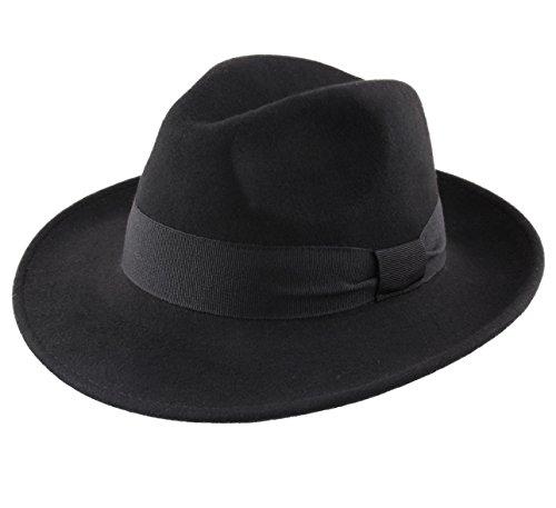 Classic Italy - Chapeau Fedora Pliable imperméable Feutre - 14 Coloris - Homme ou Femme Fedora - Taille 58 cm - Noir