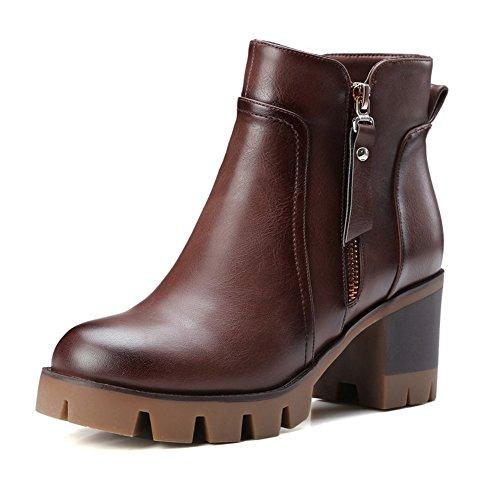 COOLCEPT Damen Blockabsatz Knoechel Plateau Schuhe für die Reißverschluss Martin Stiefel Kamel