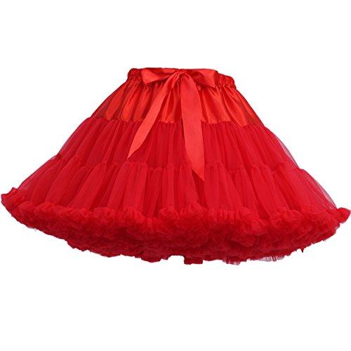 FOLOBE Erwachsene luxuriöse weiche Chiffon Petticoat Tüll Tutu Rock Damen Tutu Kostüm Petticoat Ballett Tanz - Mit Dem Guten Gefühl Tanz Kostüm