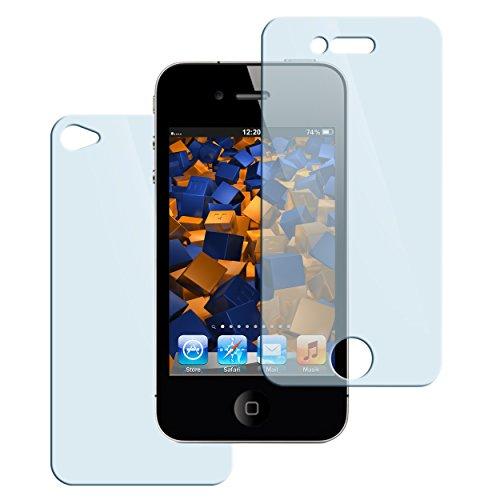 mumbi Hart Glas Folie kompatibel mit Apple iPhone 4 Panzerfolie, iPhone 4s Panzerfolie, Schutzfolie Schutzglas (2x) -