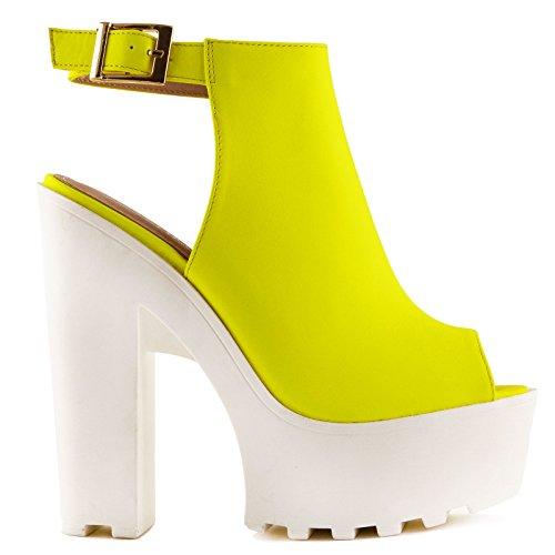Toocool - Chaussures Femme Bottes Carrarmato Bottes Bottines À Bout Ouvert Nouveau Il8806-10 Jaune