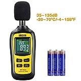 URCERI Schallpegelmessgerät - Digital Sound Level 35dB-135dB Meter Lärm-/ db-Messgerät mit Max / Min / Haltedaten, Temperaturmesser -20 ° C ~ 70 ° C / -4 ° F ~ 158 ° F und LCD-Display, inkl. Batterie