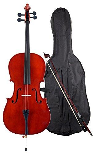 Classic Cantabile CP-100 Cello 4/4 Set (Decke: Fichte, Boden: Ahron, Wirbel: Palisander, höhenvertellbarer Stachel, hochglanz lackiert, inkl. Bogen und Tasche)