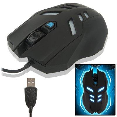 USB-Kabelmaus der Megatron-Serie mit Kabel und blauer Hintergrundbeleuchtung, maximale Auflösung von 2000 DPI (Schwarz) High Quality -