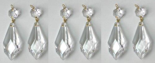 6 Stück Kristall Zapfen 50mm + octogon für Lüster – Kronleuchter – Lampen
