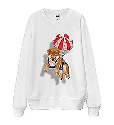 French Terry Sweatshirt - Cute Shiba Inu Dog Parachute