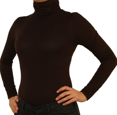 9790 Mesdames blouse corps, une chemise de corps, manches longues, col roulé, vert, blanc, brun foncé, gris, rouge, beige, noir. marron foncé