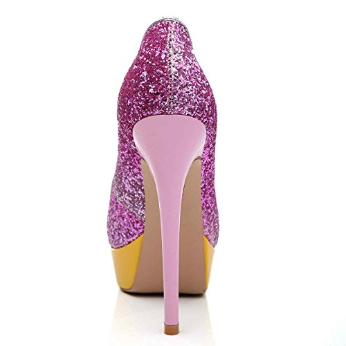 Arc-en-Ciel Frauenplattformschuhe Peep Toe High Heel Lila