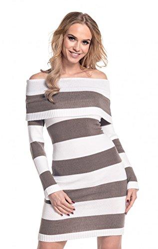 Glamour Empire. Donna Vestito maglia scollo Bardot. Blocchi di righe. 887 Bianco / Cappuccino