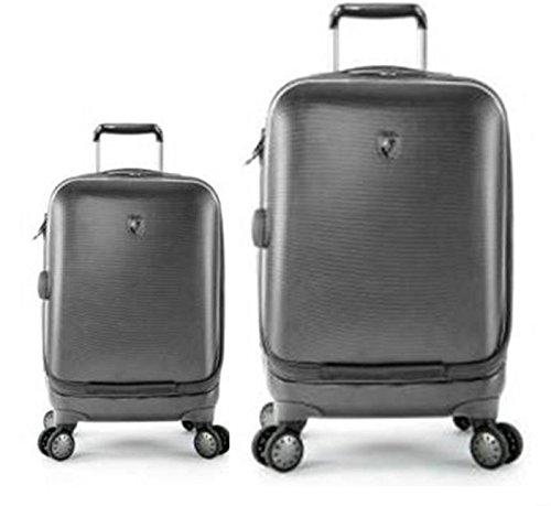 Sets de Bagages, valises - Première Classe Valise Rigide Set 2 pièces - Heys Crown Smart Portal Gris Bagages à Main + Trolley avec 4 Roues Grand