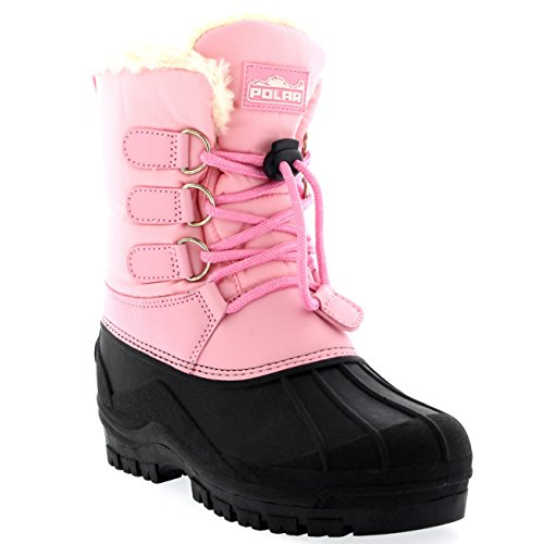 Unisex Kids Pull On Drawstring Closure Nylon Muck Duck Snow Rain Boots