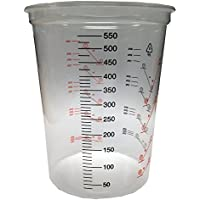 600ml Clear Plastic Mixing Cup - 10pk - No Lid