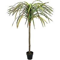 Dracena artificiale-albero del drago, in vaso, 75 foglie, verde-rosso, 170 cm - Dracaena decorativa / Pianta finta -