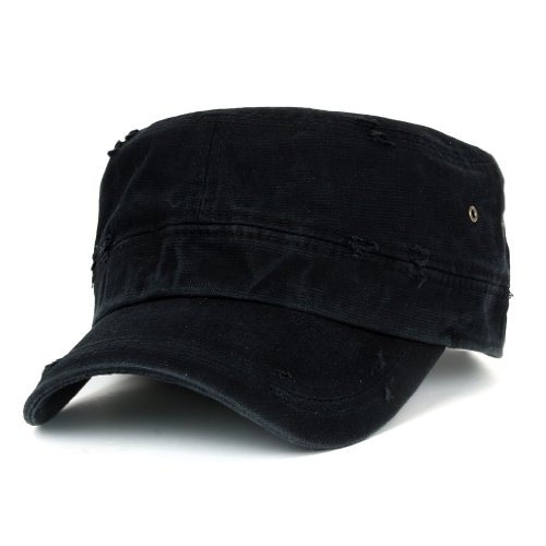 ililily Distressed Cotton Cadet Cap with Adjustable Strap Army Style Hut (cadet-527-1) (Elastic Newsboy Cap Baumwolle)